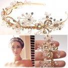 GOLD FLOWER BRIDAL WEDDING TIARA RHINESTONE CRYSTAL HAIR HEADBAND -CA