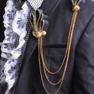 Black Gold Tassel Ribbon Smart Men Wedding Ascot Cravat Handmade Necktie Brooch