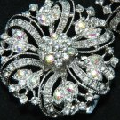 A Pair Aurora Borealis Rhinestone Crystal Wedding Sandal Flat Round Shoe Clips