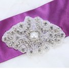 "3.5"" Vintage Style Motif Rhinestone Beaded Faux Pearl Bridal Ribbon Applique -EU"