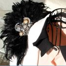Black Lady Men Wedding Peacock Feather Shoulder Pad Brooch Pin