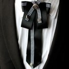 Black Rococo Men Knot Wedding Party Ascot Cravat Bow Necktie Neck Tie