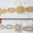1 Yard Gold/Silver Tone Crystal Rhinestone Bridal Ribbon Belt Sash Applique Trim