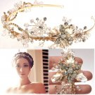 Gold Flower Bridal Wedding Tiara Rhinestone Crystal Hair Crown Headband -EU