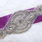 "8"" Vintage Style Motif Rhinestone Crystal Wedding Bridal Ribbon Blet Applique"