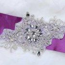 "7"" Classic Motif Snowflake Flower Beaded Wedding Bridal Ribbon Belt Applique -EU"