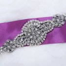 "6.3"" Black Tone Rhinestone Crystal Beaded Bridal Sash Applique DIY"