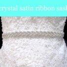 "0.75"" OFF WHITE SATIN RIBBON CRYSTAL RHINESTONE WEDDING SASH BELT 3 YARDS"