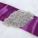 Lot of 2 Aurora Borealis Rhinestone Crystal Bridal Dress Ribbon Belt Applique