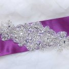 "7"" Vintage Style Snow Snowflake Snow Acrylic Beaded Pearl Ribbon Belt Applique"