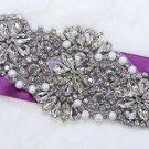 "6.2""Vintage Style Grand Flowers Pearl Rhinestone Crystal Wedding Bridal Applique"