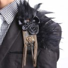 Man Black Feather Rose Row Metal Tassel Wedding Groom Brooch Pin