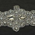 "6.2"" Vintage Style Elegant Flower Rhinestone Crystal Beaded Bridal Applique DIY"