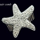Christmas Cute Sea Star Starfish Crystal Rhinestone Wedding Bridal Hair Comb -CA