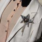 Rock Punk Lady Men Wedding Tigar Button Star Applique Corsage Tassel Brooch Pin