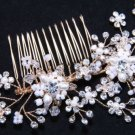 Flower Blossom Faux Pearl Rhinestone Crystal Wedding Golden Bridal Hair Comb -CA