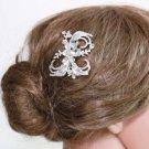 Silver Flower Plaint Ribbon Rhinestone Crystal Wedding Bridal Hair Comb -CA
