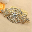 Vintage Style Motif Classic Gold Bridal Wedding Rhinestone Crystal Hair Comb -CA