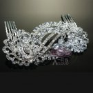 Art Deco Motif Bridal Wedding Brides Silver Rhinestone Crystal Hair Comb -CA
