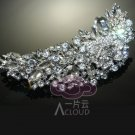 Large Vintage Style Moon Shape Rose Wedding Bridal Rhinestone Hair Comb -CA