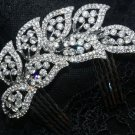 Grand Leaf Leaves Rhinestone Crystal Wedding Bridal Silver Tone Hair Comb -CA