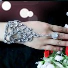 Rhinestone Crystal Wedding Bridal Bride Eye Pattern Applique Slave Ring Bracelet