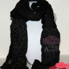 Chunky Black Acrylic Gold Thread Big Rose Winter Wool Wrap Scarf