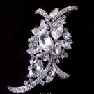 Large Vintage Style Wedding Bridal  Marquise Rhinestone Crystal Brooch Pin