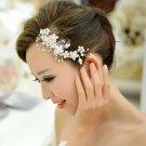 Faux Pearl Flower Leaf Wedding Bridal Rhinestone Crystal Soft Wire Hair Comb -CA