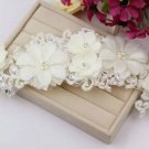 Lace Faux Paerl Bridal Wedding Brides Rhinestone Flower Wire Hair Tiara - CA