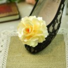 A Pair Of Flower Rose Wedding Wedding Bridal Yellowish Ivory Shoe Clips -CA