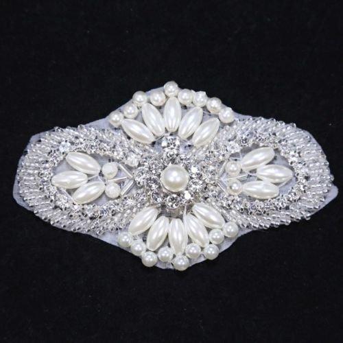 """4"""" Classic Faux Pearl Beaded Crystal Rhinestone Wedding Bridal Dress Applique"""