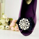 A Pair Of Faux Pearl Floral Rhinestone Crystal Wedding Black Bow Shoe Clips -CA