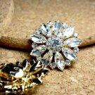 A Pair of Gold Tone Flower Rhinestone Crystal Wedding Bridal Shoe Clips