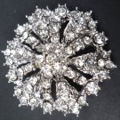WEDDING BRIDAL SMALL RHINESTONE CRYSTAL HEXAGON BROOCH PIN