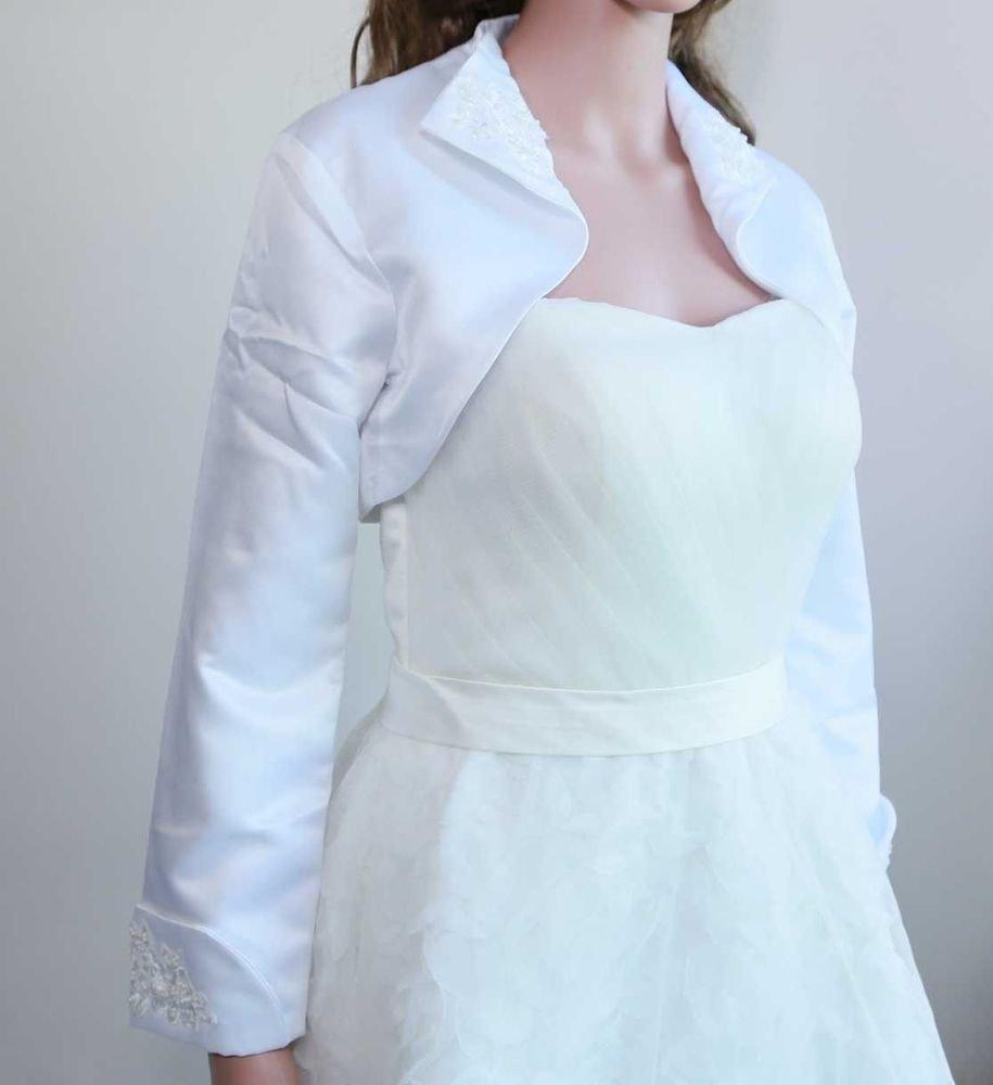 White Embroidery Wedding Bridal Lace 3/4 Long Sleeve Jacket Bolero Cape -CA