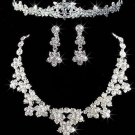 Wedding Bridal Rhinestone Crystal Forehead Tiara Clip Earrings Necklace Set -CA