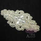 "4.7"" Classic Motif Cross Rhinestone Crystal Beaded Bridal Dress Ribbon Applique"