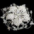 Large Elegant Flower Rhinestone Crystal Soft Wire Wedding Bridal Hair Comb -CA