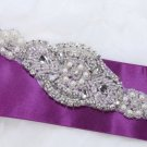 Small Pearl Acrylic Beaded Rhinestone Crystal Faux Pearl Bridal Ribbon Applique
