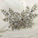 Large Clear Rhinestone Crystal Wedding Bridal Silver Tone Brooch Pin -CA