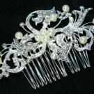 Vintage Motif Flower Bridal Wedding Faux Pearl Rhinestone Crystal Hair Comb -CA