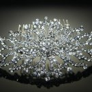 Grand Flower Rhombus Wedding Bridal Rhinestone Crystal Silver Tone Hair Comb