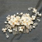 Gold Tone Flower Wedding Bridal Faux Pearl Rhinestone Crystal Hair Comb -CA