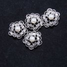 Lot of 4 Flower Rhinestone Crystal Off White Faux Pearl Dress Flat Buttons