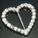 Rhinestone Crystal Heart Wedding Invitation Ribbon Slider Belt Buckle