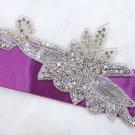 """6.9"""" Flower Leaf Plant Crystal Rhinestone Beaded Wedding Bridal Dress Applique"""
