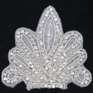 Wedding Bridal Sash Applique Vintage Fleur De Lis Crystal Rhinestone DIY Motif