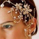 Gold Tone Flowers Faux Pearl Rhinestone Crystal Wedding Bridal Hair Comb -CA