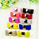 PU Artificial Leather Gold Tone Butterfly Bow Wedding Lady Woman Shoe Clips Pair